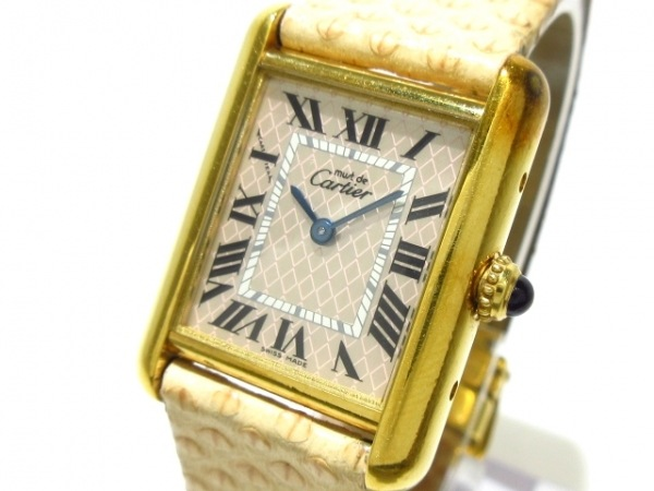 カルティエ 腕時計 マストタンクアクアリーノ W1018587 レディース 革ベルト/925