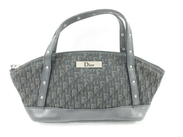 クリスチャンディオール ハンドバッグ美品  ロゴグラム 黒×ダークグレー