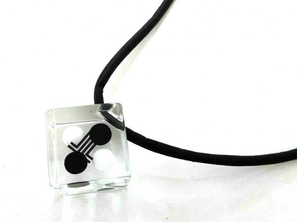 LANVIN(ランバン) ネックレス美品  プラスチック×合皮 黒×クリア×白