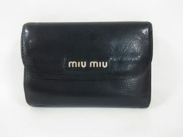 miumiu(ミュウミュウ) Wホック財布 - 5M1373 黒 レザー