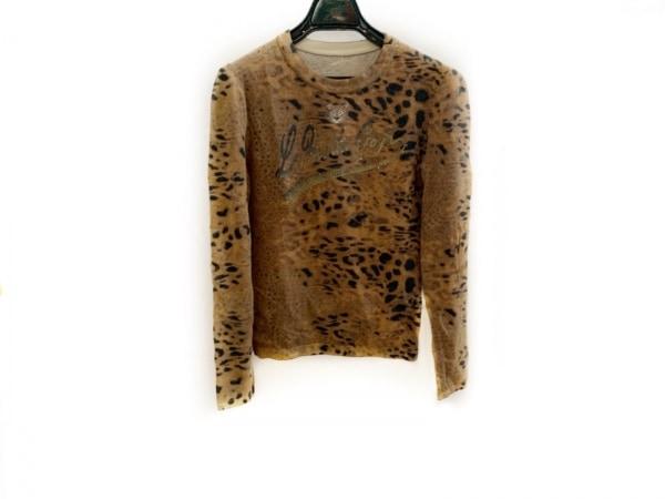 イタリヤ 長袖セーター サイズ7 S レディース美品  ブラウン×黒×ベージュ
