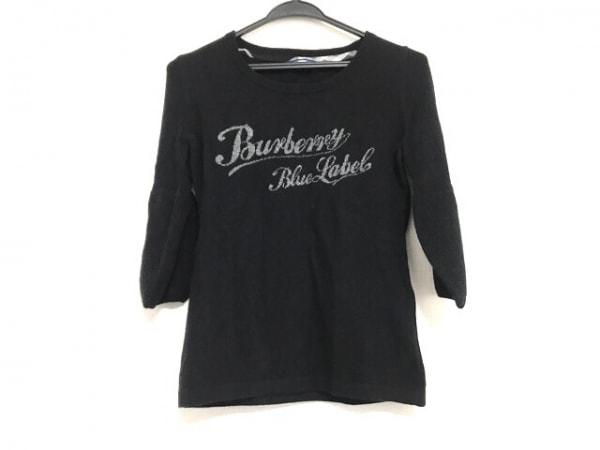 バーバリーブルーレーベル 七分袖セーター サイズ38 M レディース美品  黒×グレー