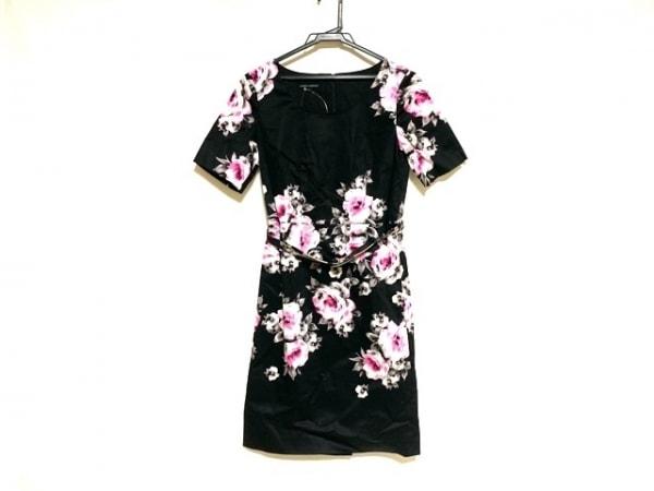 ローラアシュレイ ワンピース サイズ7 S レディース美品  黒×ピンク×白 花柄