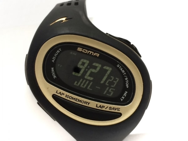 SOMA(ソーマ) 腕時計美品  WJ09-4000 レディース ラバーベルト/ランニングウォッチ 黒