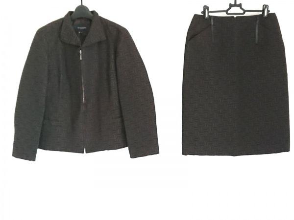 バーバリーロンドン スカートスーツ レディース美品  黒×ダークブラウン