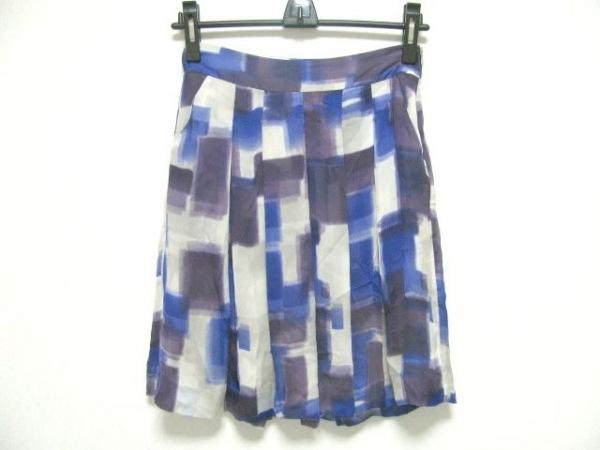 theory(セオリー) スカート サイズ0 XS レディース パープル×アイボリー シルク