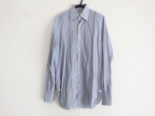 Cifonelli(チフォネリ) 長袖シャツ メンズ美品  白×ネイビー ストライプ