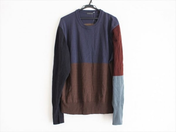JURGEN LEHL(ヨーガンレール) 長袖セーター メンズ ネイビー×ダークブラウン×マルチ