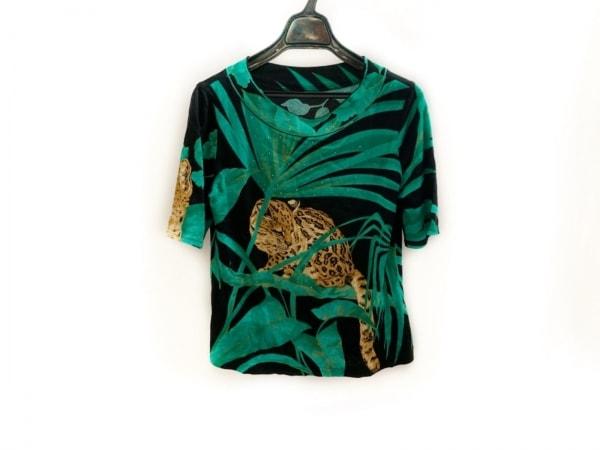 イタリヤ 半袖カットソー サイズ9 M レディース美品  黒×グリーン×マルチ