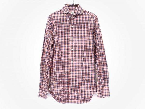 フィナモレ 長袖シャツ サイズ15/40 メンズ レッド×ネイビー×白 チェック柄