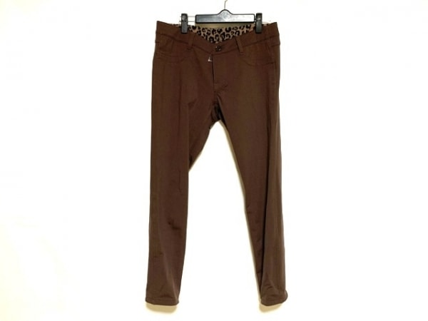 ジユウク パンツ サイズ42 L レディース美品  ダークブラウン×黒 リバーシブル/豹柄