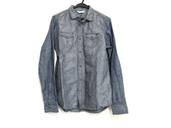 DIESEL(ディーゼル) 長袖シャツ サイズS メンズ グレー×ネイビー