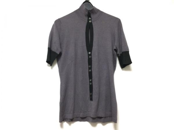 エンポリオアルマーニ 半袖セーター サイズ44 L レディース パープル×ダークグリーン