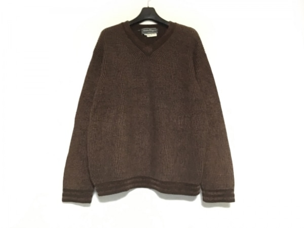 サルバトーレフェラガモ 長袖セーター サイズM メンズ ダークブラウン