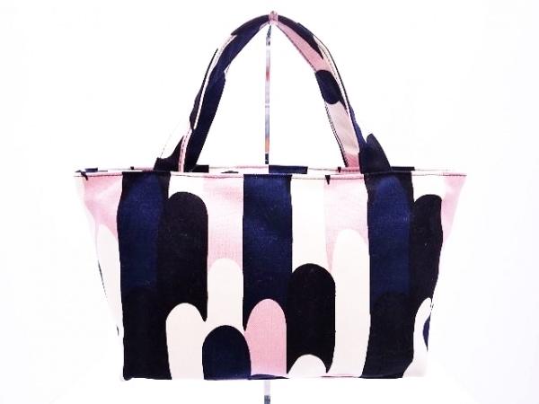 marimekko(マリメッコ) ハンドバッグ 白×ダークネイビー×マルチ キャンバス