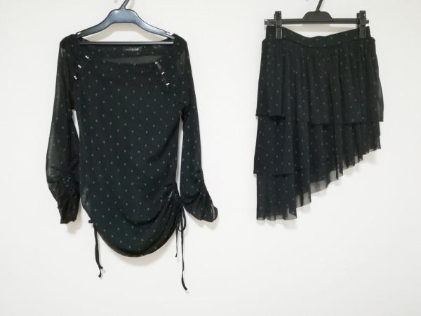 HYSTERICS(ヒステリックス) スカートセットアップ レディース美品  黒×グリーン