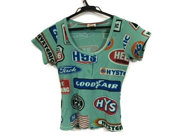 ヒステリックグラマー 半袖Tシャツ サイズFREE  F レディース ライトグリーン×マルチ