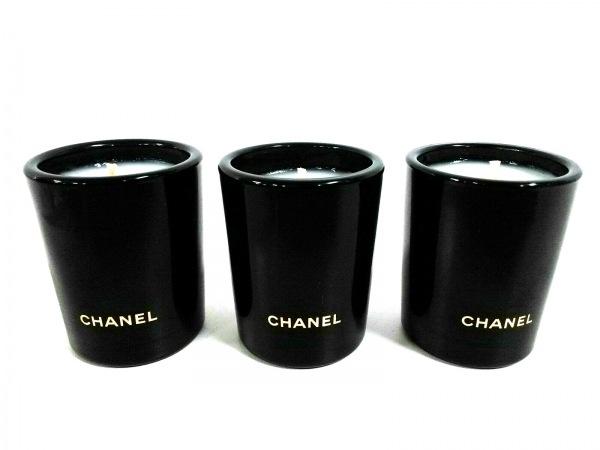 CHANEL(シャネル) 小物新品同様  黒×アイボリー ミニアロマキャンドル×3/ノベルティ