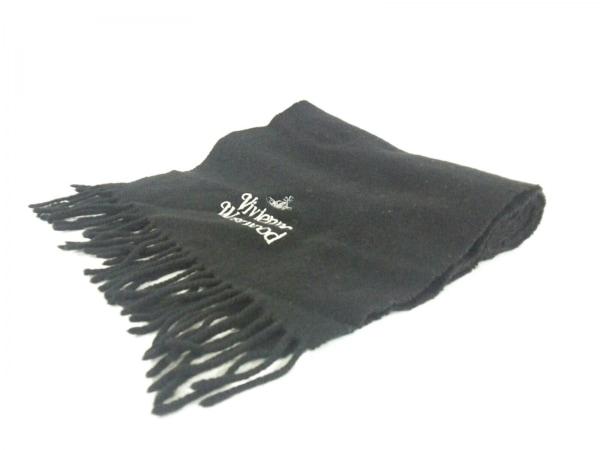 ヴィヴィアンウエストウッドアクセサリーズ マフラー美品  黒×白 刺繍 ウール