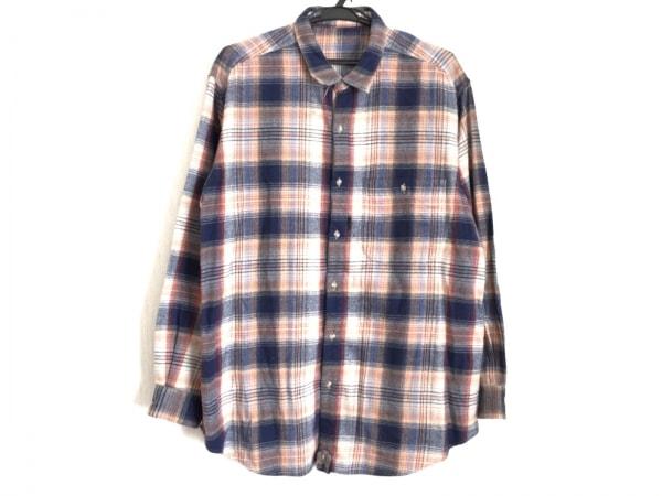 Papas(パパス) 長袖シャツ サイズL メンズ ネイビー×オレンジ×マルチ チェック柄