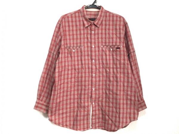 Papas(パパス) 長袖シャツ サイズL メンズ レッド×マルチ チェック柄
