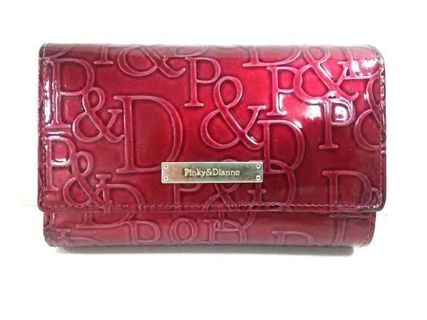 ピンキー&ダイアン 3つ折り財布 ピンク ラメ/型押し加工 エナメル(レザー)