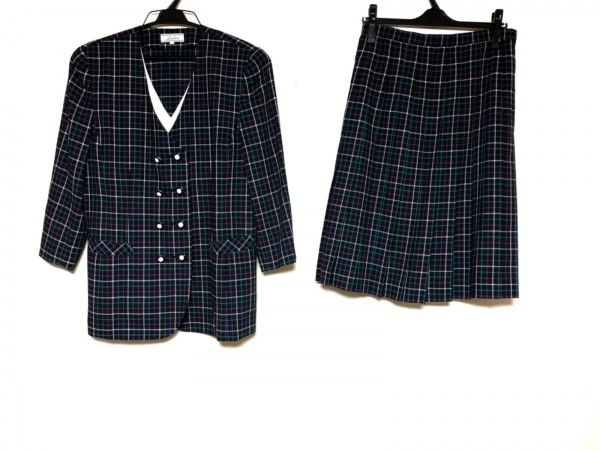 Leilian(レリアン) スカートスーツ サイズ9 M レディース美品  黒×パープル×マルチ
