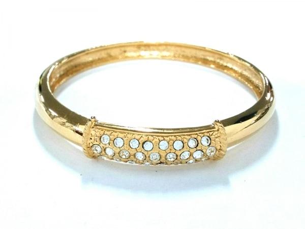 Leilian(レリアン) バングル美品  金属素材×ラインストーン ゴールド×クリア