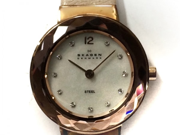 SKAGEN(スカーゲン) 腕時計 456SRLT レディース シェル文字盤/革ベルト アイボリー