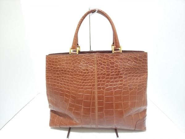 barantani(バランターニ) ハンドバッグ美品  ブラウン 型押し加工 レザー