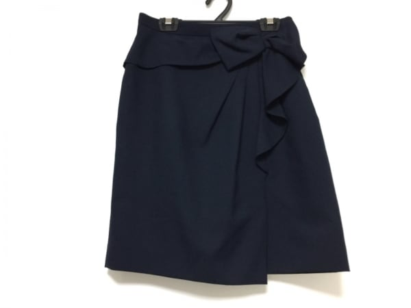 アプワイザーリッシェ スカート サイズ1 S レディース ネイビー リボン/プリーツ