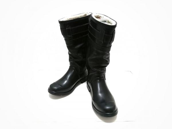 D&G(ディーアンドジー) レインブーツ 41 1/2 メンズ - 黒 ラバー×レザー
