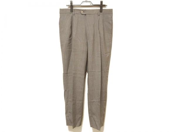 ゼニア パンツ サイズ52 メンズ カーキ×ベージュ×グリーン チェック柄