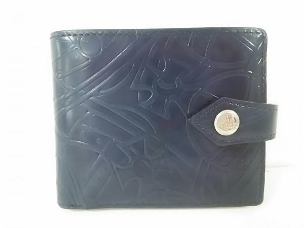ヴィヴィアンウエストウッド 2つ折り財布美品  ネイビー 型押し加工 レザー