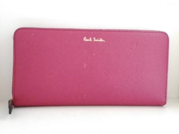 ポールスミス 長財布 スミシーハート ピンク ラウンドファスナー/型押し加工 レザー