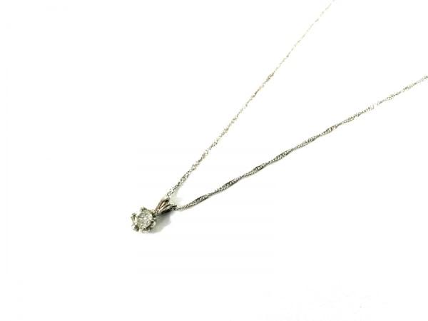 ノーブランド ネックレス美品  K14WG×ダイヤモンド クリア 総重量:0.9g/010刻印