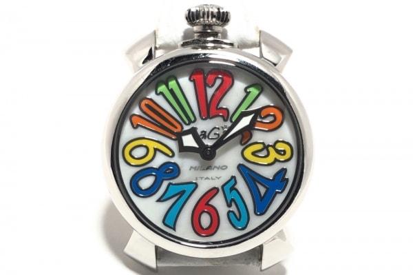 ガガミラノ 腕時計 マヌアーレ40 5020.1 レディース 革ベルト 白×マルチ