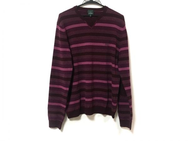 ヘンリーコットンズ 長袖セーター サイズL メンズ美品  ボルドー×ピンク×パープル