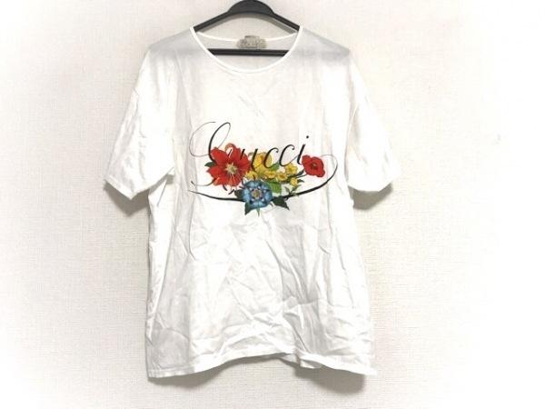 GUCCI(グッチ) 半袖Tシャツ レディース美品  アイボリー×黒×マルチ フラワー