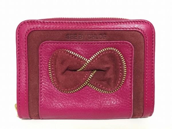 シーバイクロエ 2つ折り財布美品  ピンク×ダークブラウン ラウンドファスナー/リボン