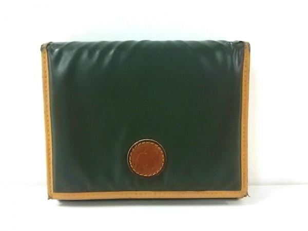 ハンティングワールド 3つ折り財布 カーキ×ライトブラウン バチュークロス×レザー