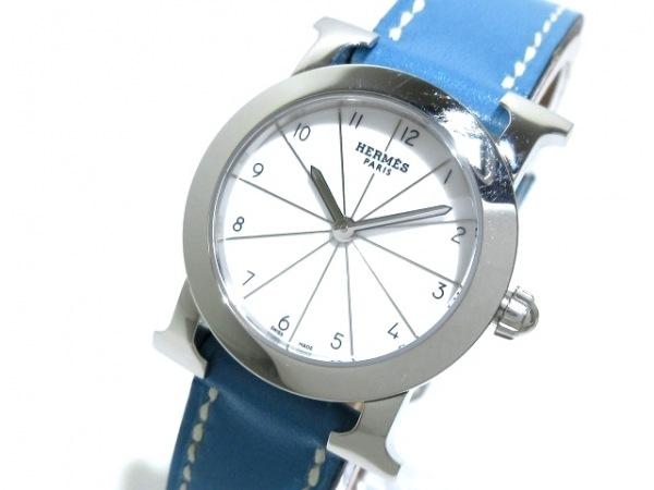 HERMES(エルメス) 腕時計美品  Hウォッチロンド HR1.210 レディース 革ベルト/□K 白