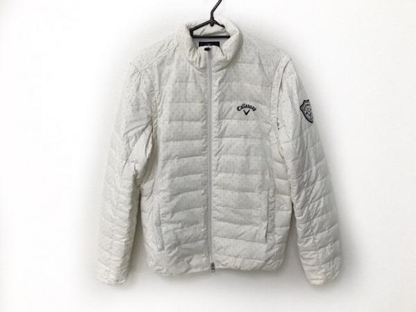 キャロウェイ ブルゾン サイズM メンズ 白×ネイビー ジップアップ/ドット柄/冬物