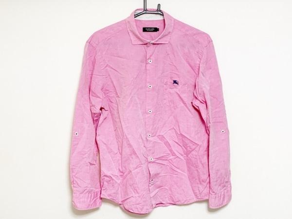 バーバリーブラックレーベル 長袖シャツ サイズ3 L メンズ ピンク×ネイビー
