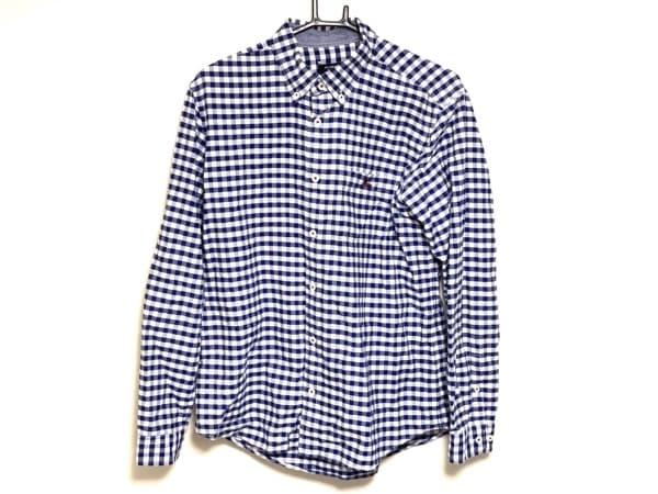 バーバリーブラックレーベル 長袖シャツ サイズ3 L メンズ ブルー×白×ボルドー