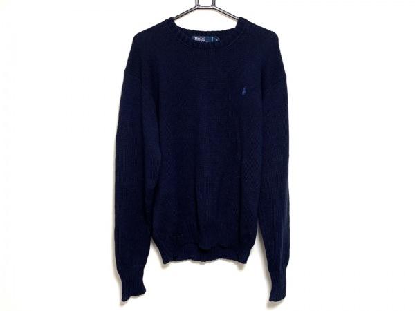 ポロラルフローレン 長袖セーター サイズM メンズ ネイビー×ブルー