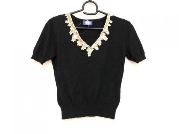 ブルーガール・アンナモリナーリ 半袖セーター レディース美品  黒×ベージュ レース