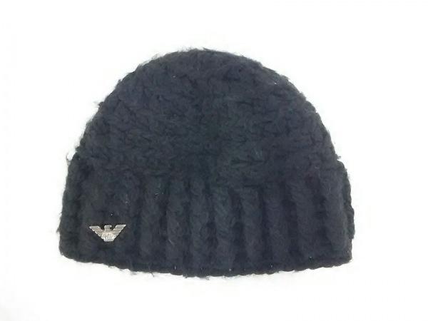 EMPORIOARMANI(エンポリオアルマーニ) ニット帽 57美品  黒 ウール