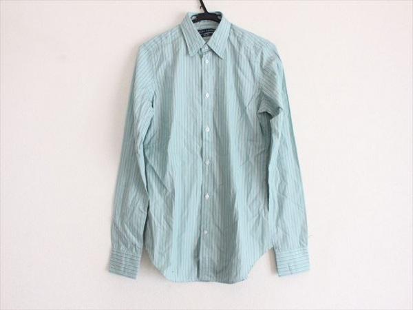 ラルフローレン 長袖シャツ サイズS メンズ美品  ライトブルー×ダークブラウン×白