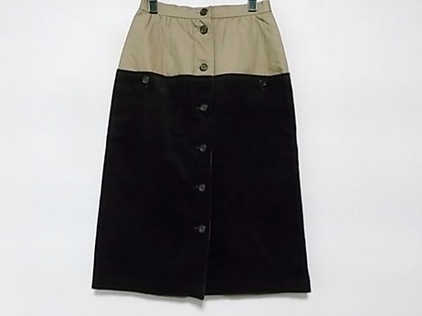 イヴサンローラン スカート サイズS レディース美品  ダークグリーン×カーキ